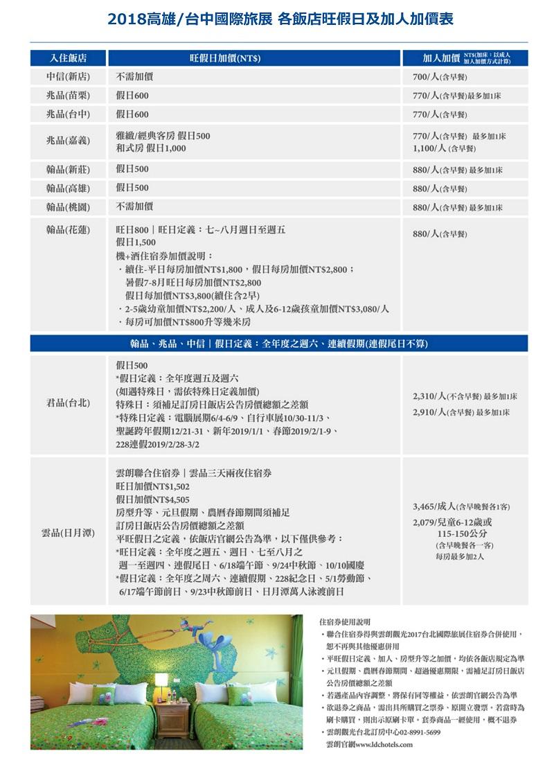 高雄-台中-聯合旅展-各飯店旺假日加價表